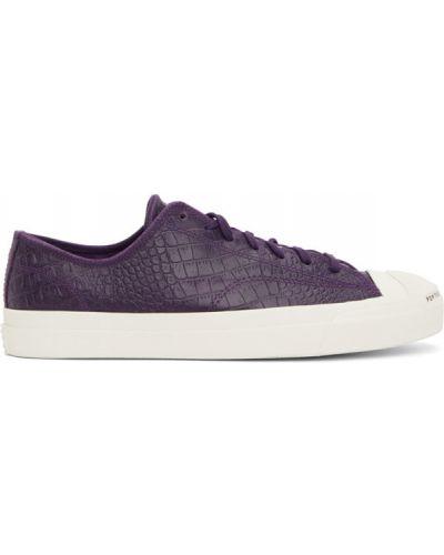Кожаные белые кроссовки на каблуке Converse