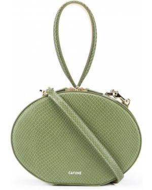 Zielona kopertówka skórzana z printem Cafuné