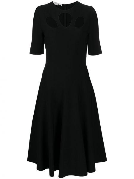 Платье миди с короткими рукавами - черное Stella Mccartney