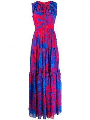 Niebieska sukienka długa bez rękawów z printem Halpern