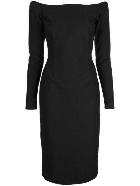 Облегающее черное прямое платье с открытой спиной Haney