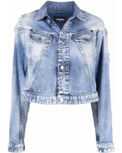 Синяя укороченная куртка Dsquared2