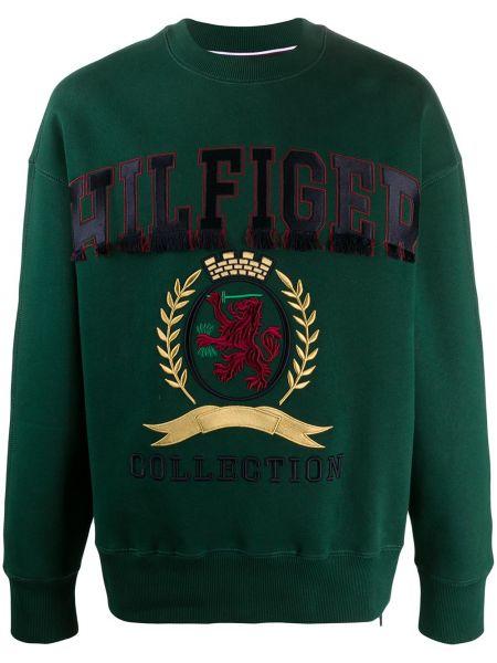 Хлопковый с рукавами зеленый свитшот с вышивкой Hilfiger Collection