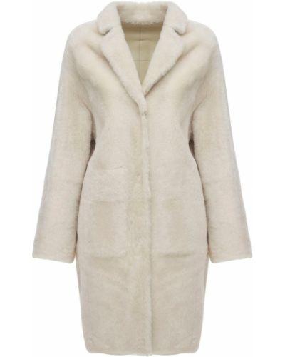 Белое пальто с карманами Yves Salomon