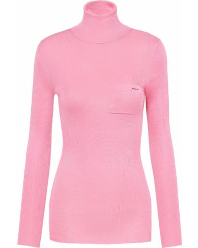 С рукавами шелковый розовый джемпер Prada