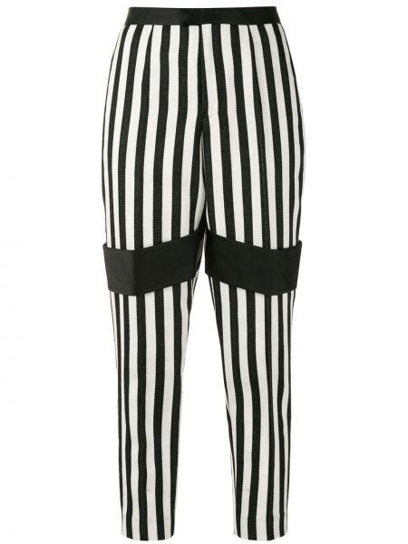 Шерстяные черные брюки в полоску Undercover