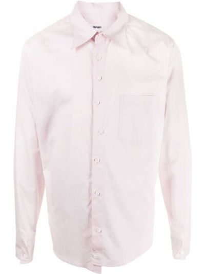 Różowa koszula bawełniana z długimi rękawami Sulvam