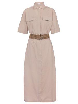 Хлопковое бежевое платье-рубашка сафари Brunello Cucinelli