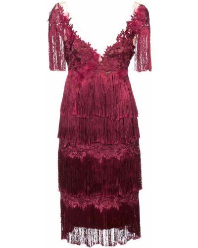 Платье миди мини с бахромой с цветочным принтом Marchesa Notte