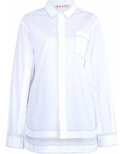 Блузка с длинным рукавом с воротником-стойкой хлопковая Marni