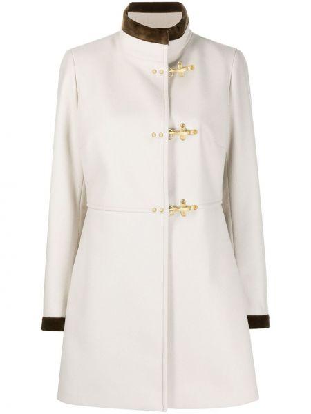 Шерстяное серое длинное пальто с воротником со вставками Fay