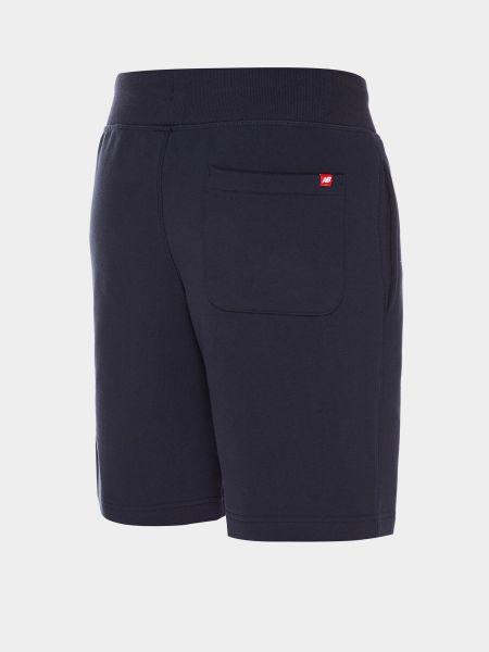 Синие хлопковые шорты с карманами New Balance