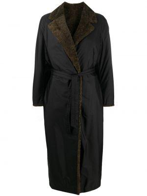 Зеленое кожаное пальто классическое двустороннее Simonetta Ravizza