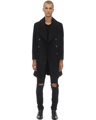 Czarny płaszcz wełniany z paskiem Bottega Martinese