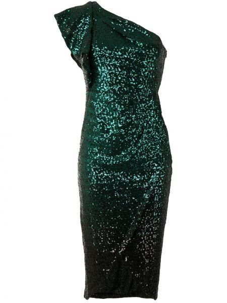 С рукавами зеленое платье с запахом Marchesa Notte