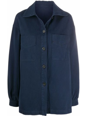 Синяя длинная куртка с манжетами на пуговицах с карманами Raquel Allegra