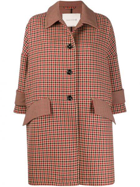 Коричневое шерстяное пальто классическое с капюшоном Mackintosh