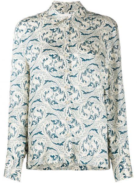 Шелковая с рукавами белая блузка Ba&sh