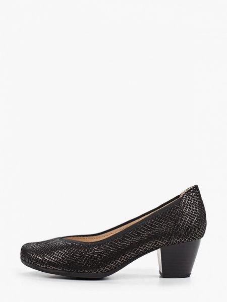 Замшевые туфли черные закрытые Caprice