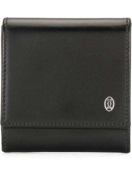 Черный кожаный кошелек для монет со шлицей Cartier