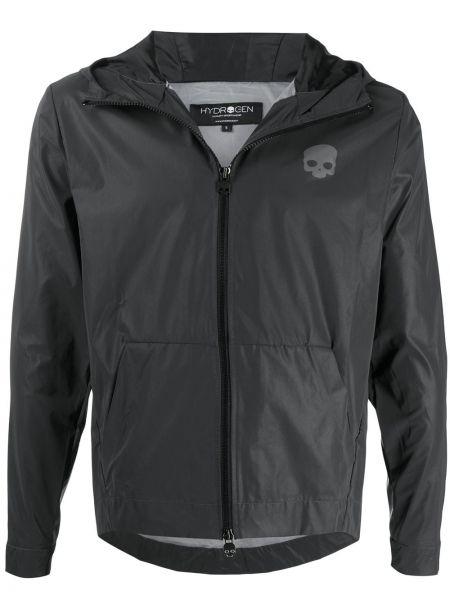Czarna kurtka z kapturem z długimi rękawami Hydrogen