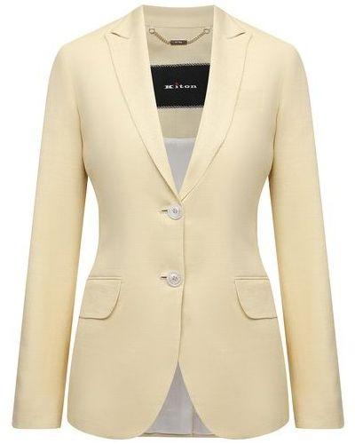 Шерстяной пиджак - желтый Kiton