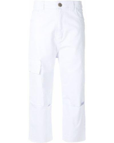 Белые брючные брюки с карманами с высокой посадкой Uma   Raquel Davidowicz