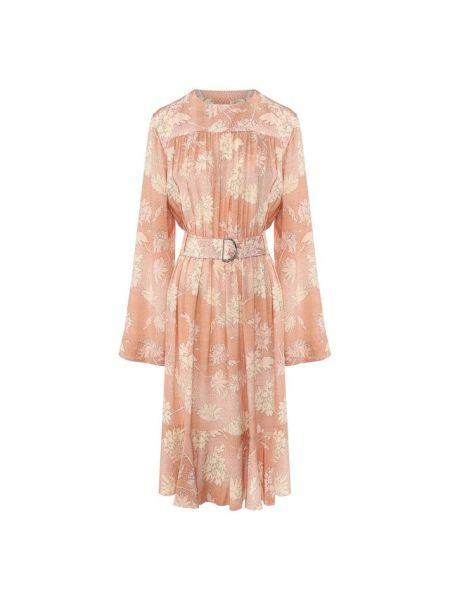 Платье с поясом розовое с цветочным принтом Chloé