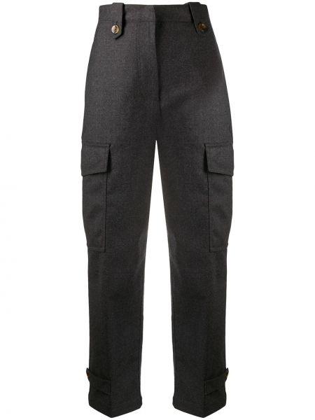Шерстяные серые укороченные брюки с карманами с высокой посадкой Pt01