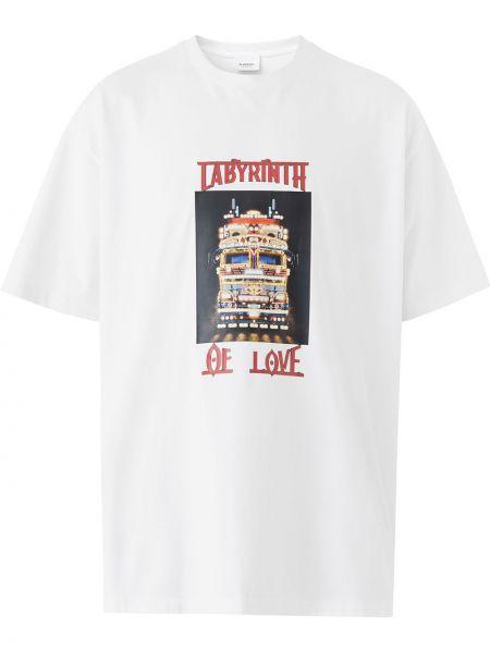 Bawełna prosto biały koszula z krótkim rękawem krótkie rękawy Burberry