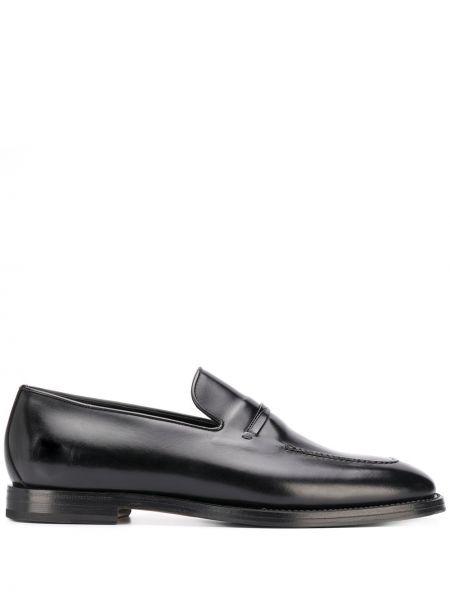 Кожаные черные лоферы на каблуке с подкладкой Silvano Sassetti
