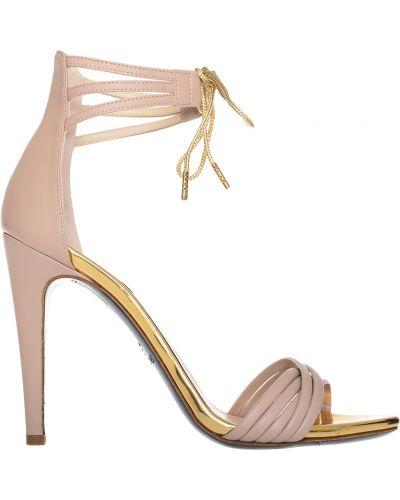 Бежевые босоножки на каблуке Patrizia Pepe