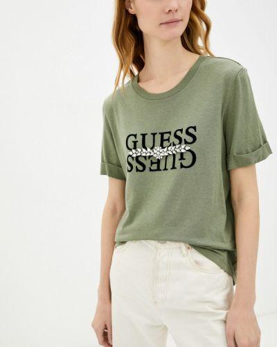 Джинсовая футболка - хаки Guess Jeans