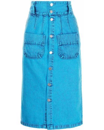 Хлопковая с завышенной талией синяя юбка карандаш Sjyp