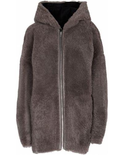 Черное кожаное пальто Rick Owens