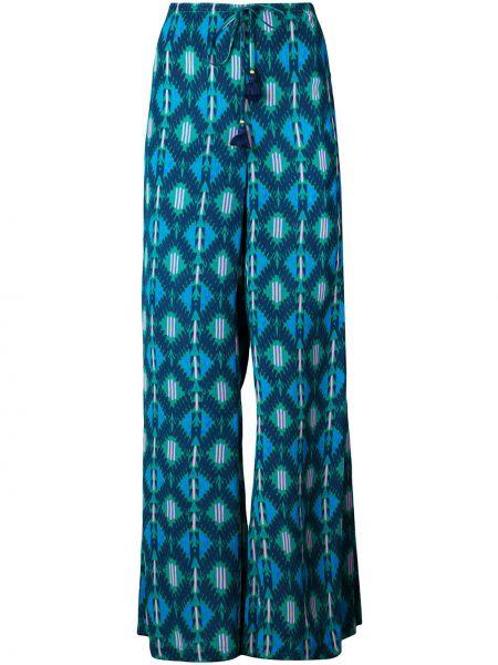 Zielone spodnie z wiskozy rozkloszowane Figue