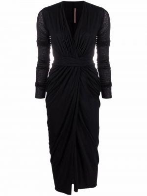 Трикотажное черное платье миди с оборками Rick Owens Lilies