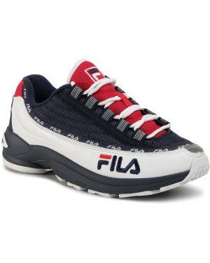 Skórzane sneakersy białe sztuczna skóra Fila
