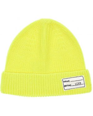 Prążkowany żółty czapka beanie wełniany Lc23