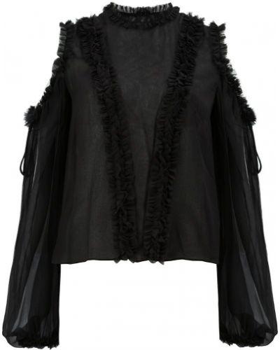 Блузка с открытыми плечами с воротником-стойкой прозрачная Alexis