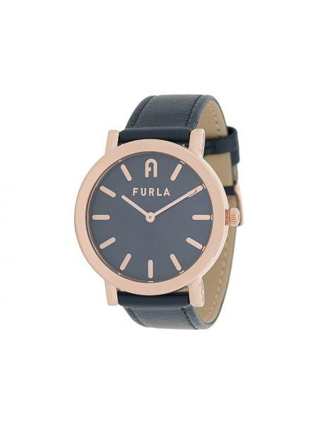 Z paskiem srebro zegarek na skórzanym pasku okrągły z prawdziwej skóry Furla
