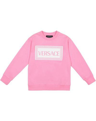 Różowy bawełna bawełna bluza Versace Kids