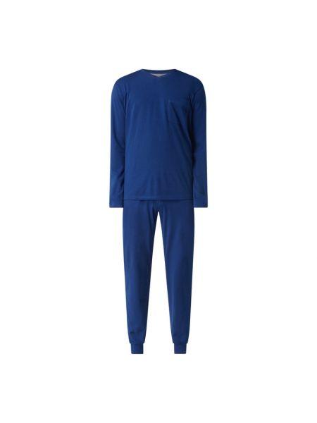 Niebieska spodni piżama bawełniana z długimi rękawami Seidensticker