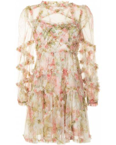 Желтое с рукавами платье мини с подкладкой Needle & Thread