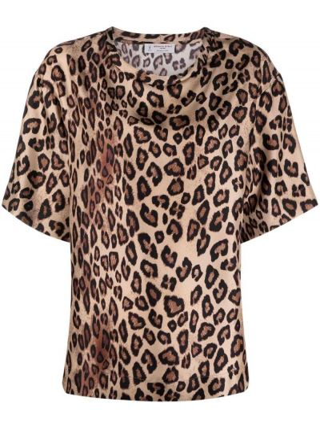 Шелковая прямая футболка с короткими рукавами леопардовая Alberto Biani