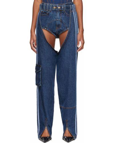 Синие джинсы в полоску Adidas X Ivy Park