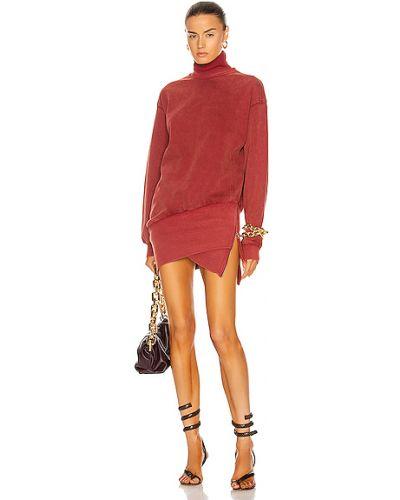Prążkowana czerwona sukienka sweterkowa koronkowa Retrofete