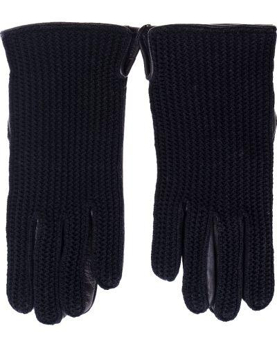 Кожаные перчатки текстильные черные Parola
