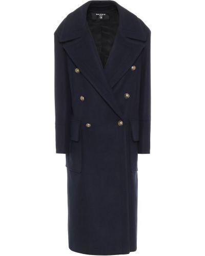 Классическое домашнее синее шерстяное пальто классическое Balmain