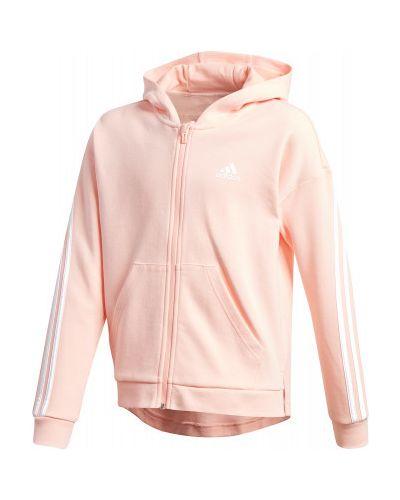 Спортивная розовая толстовка с капюшоном на молнии Adidas